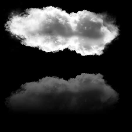 Cloud and its reflection isolated over black background, 3D rendering illustration Stok Fotoğraf