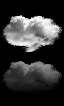 Cloud and its reflection isolated over black background. White fluffy cloud illustration, 3D rendering