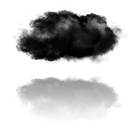 Cloud shape and its reflection isolated over white background illustration. Smoke cloud over mirror