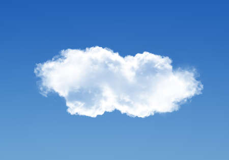 Single cloud isolated over deep blue gradient sky, realistic cloud 3D illustration. Cloud shape rendering