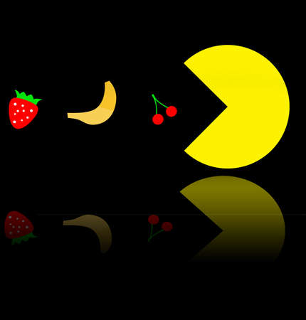reflects: Vegetarian Pac-Man eating fruit, famous video game theme illustration. Pac man reflects in the mirror Stock Photo