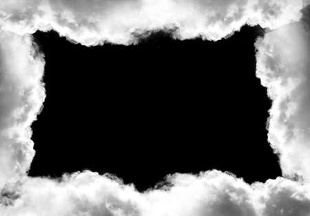 Fotokader Verschillende Fotos.Wit Wolkenkadermalplaatje Dat Over Zwarte Achtergrond Realistische