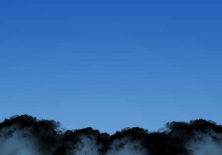 Black smoky clouds template isolated over deep blue gradient sky, realistic cloud 3D illustration. Cloud shape frame rendering ready for different design purposes