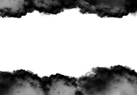 Black clouds frame template isolated over white background, realistic cloud 3D illustration. Cloud shape frame rendering ready for different design purposes Stock Photo