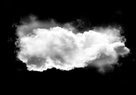 condensation: Realistic cloud shape isolated over black background, smoky rainy cloud 3D illustration. Single cloud shape rendering