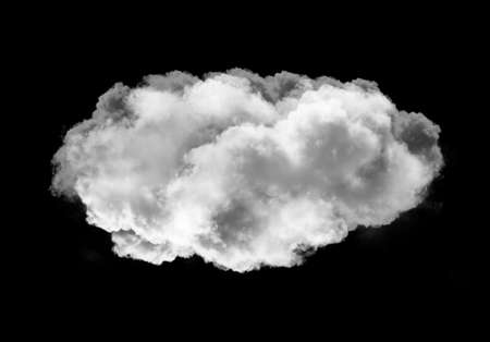 Realistic cloud shape isolated over black background, smoky rainy cloud 3D illustration. Single cloud shape rendering