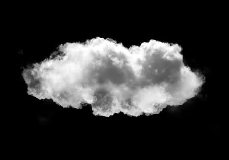 Realistic cloud shape isolated over black background, cloud 3D illustration. Single cloud shape rendering