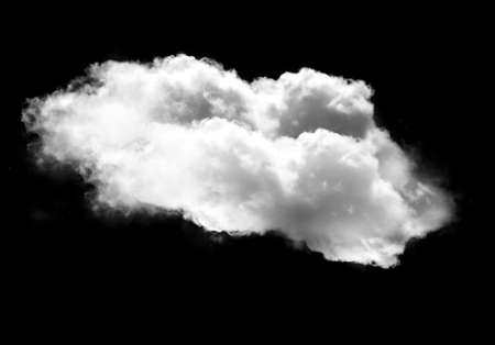 condensation: Single white cloud isolated over black background, realistic cloud 3D illustration. Cloud shape rendering Stock Photo