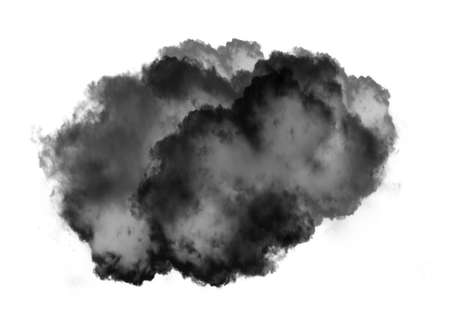 Single black cloud of smoke isolated over white background, realistic smoke 3D illustration. Smoky shape rendering