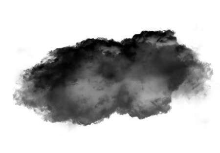 condensation: Single black cloud of smoke isolated over white background, realistic smoke 3D illustration. Smoky shape rendering