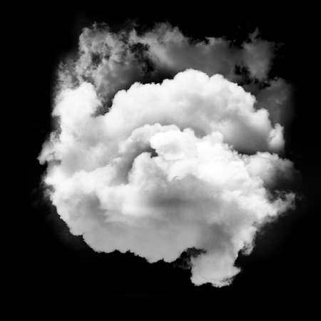 Single white cloud isolated over black background, realistic cloud 3D illustration. Cloud shape rendering Stock Photo