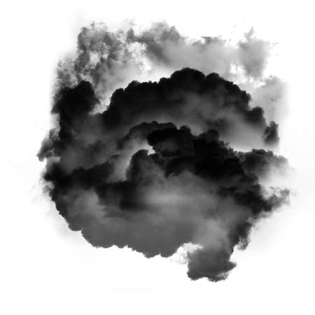 Black fluffy cloud of smoke isolated over white background, 3D rendering illustration