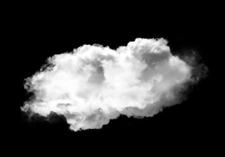 Single cloud isolated over black background, realistic cloud 3D illustration. Cloud shape rendering