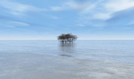 Tree in the middle of the ocean, 3D illustration, conceptual background. Lonely tree standing in water Banco de Imagens
