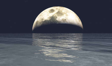 Full moon and the ocean 3D illustration background, conceptual natural background Stock Photo