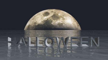 moon shadow: Halloween moon and sea 3D illustration, computer generated natural background