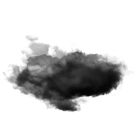 Black cloud of smoke isolated over white background 3D illustration, dirt or dust shape, natural smoke from fire Banco de Imagens