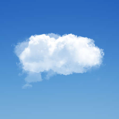 Single cloud 3D illustration, realistic natural cloud isolated over blue sky background