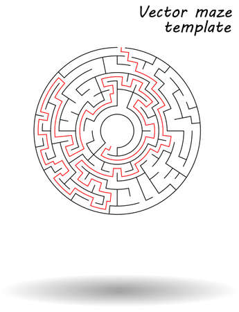 Maze vector illustration isolated over white background, conceptual logo template, design elements. Labyrinth vector logos and abstract backgrounds ideas