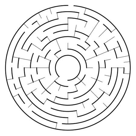Vector maze illustration, labyrinth shape isolated over white background. Detailed maze pattern for different design purposes.