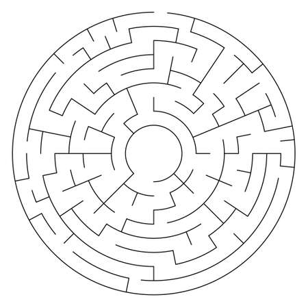 Vector maze illustration, labyrinth shape isolated over white background. Detailed maze pattern for different design purposes