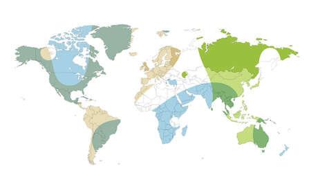 Colored Vector World Map Illustration Isolated Over White Background ...