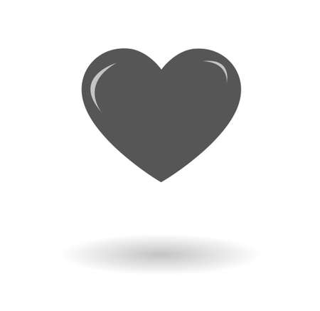 Vector icon of a grey heart, love symbol flat style graphics.  Heart shape isolated over white background with a shadow, eps 10 pictogram. Heart sign, St. Valentine's Day love and feelings illustration Illustration