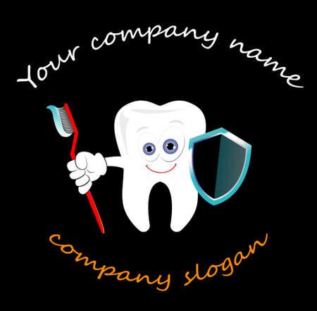 Plantilla de logotipo de vector de diente para clínicas de dentista aisladas sobre fondo negro. Imágenes prediseñadas de cuidado dental, ideas de logotipos. Ilustración de logo de vector de estomatología
