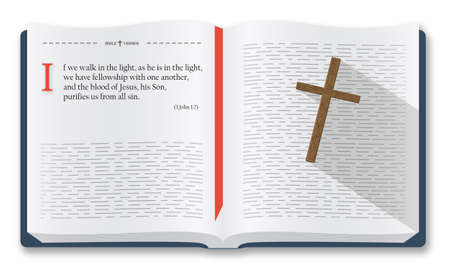 Best Bible verses to remember - 1 John 1:7. Holy Bible quotes about sins and purity, Bible illustration isolated over white background