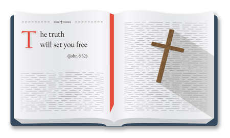 Best Bible verses to remember - John 8:32. Bible quotes about the truth and freedom. Holy scripture inspirational sayings for Bible studies and Christian websites, Bible illustration