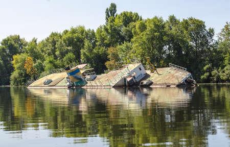 Ship wreck, old ship near the shore, sunken vessel photo, accident in the sea Archivio Fotografico