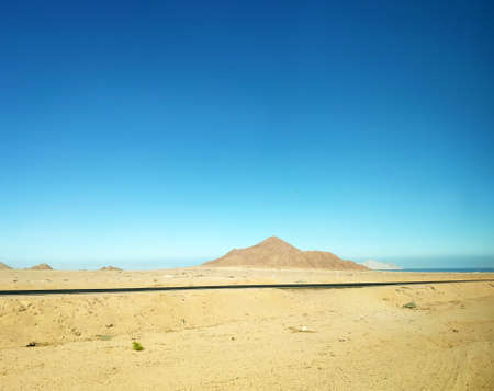 Volcano in the desert and a road, mountains landscape wallpaper, picturesque view