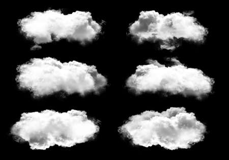 White clouds set isolated over solid black background, realistic cloud 3D illustration. Cloud shape rendering. Isolated cloud clipart