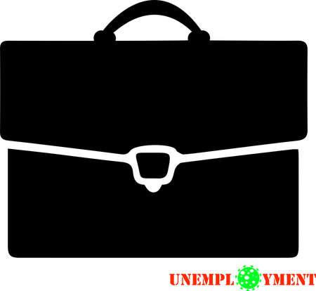 Coronavirus COVID19 unemployment vector illustration, jobless concept icon. Coronavirus world pandemic crisis, no work sign