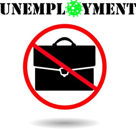 Coronavirus COVID19 unemployment situation icon vector illustration, jobless concept icon. Coronavirus world pandemic crisis, no work sign