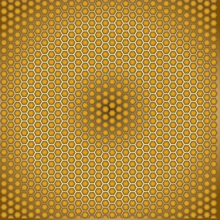 Honeycomb golden illusion radial wallpaper Illustration