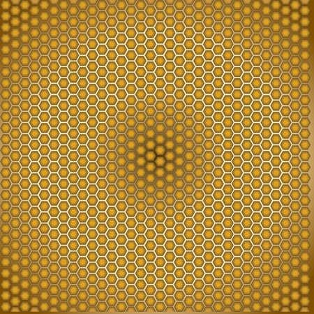 praiseworthy: Honeycomb golden illusion radial wallpaper Illustration