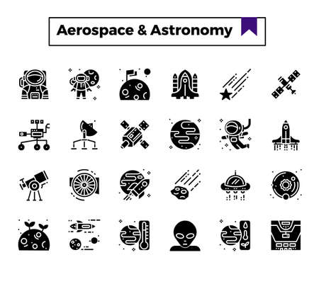 aerospace and astronomy glyph design icon set.