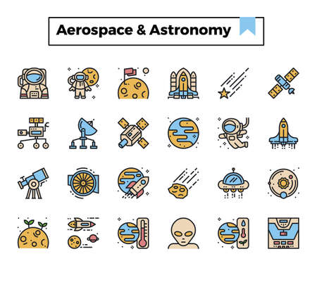 aerospace and astronomy filled outline design icon set.
