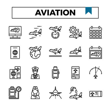 aviation outline design icon set.