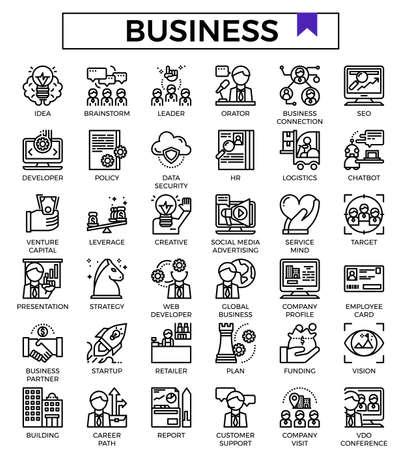 Insieme dell'icona di progettazione di contorno di affari e finanza. Vettoriali