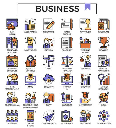 Business and finance filled outline design icon set.