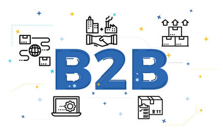 Illustration of business to business concept (B2B) with icons.