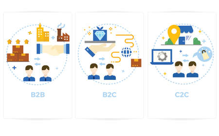 Illustration of business and customer relationship with icons.