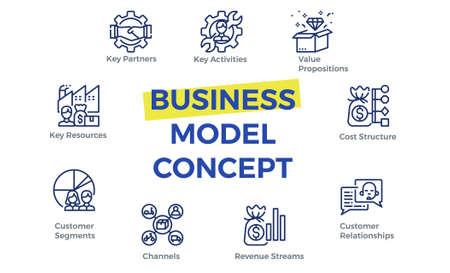Plantilla de lienzo de modelo de negocio con iconos. Ilustración de vector