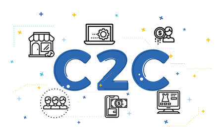 Illustration of customer to customer concept (C2C) with icons. Çizim
