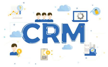 Illustration of customer relationship management (CRM) with icons.