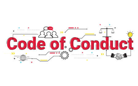 Illustration of code of conduct concept with icons.