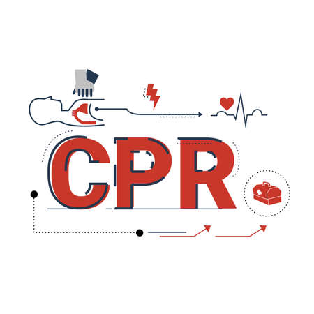 Illustration of Cardiopulmonary resuscitation (CPR) with icons.