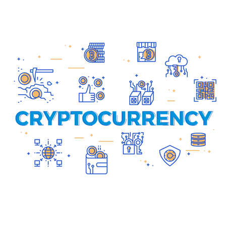 Illustration of cryptocurrency with icons.